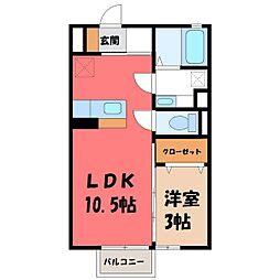 栃木県小山市城北2丁目の賃貸アパートの間取り