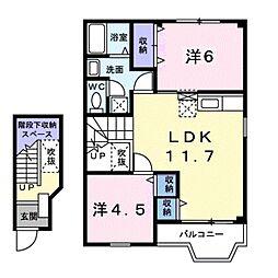 愛知県豊橋市船渡町字船渡の賃貸アパートの間取り