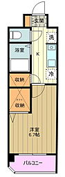 多摩都市モノレール 万願寺駅 徒歩2分の賃貸マンション 2階1Kの間取り