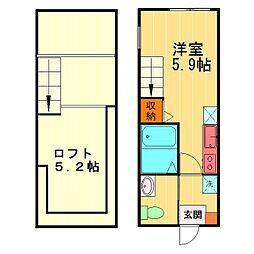 JR中央線 吉祥寺駅 徒歩13分の賃貸アパート 2階ワンルームの間取り