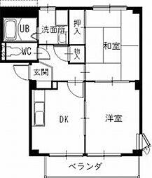 長野県伊那市美篶の賃貸アパートの間取り