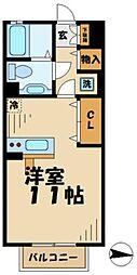 東京都八王子市堀之内3の賃貸アパートの間取り