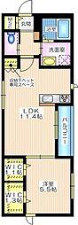 ソレイユ横濱 1階1LDKの間取り