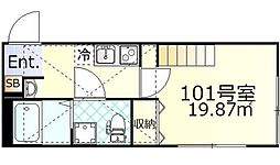 JR南武線 武蔵新城駅 徒歩6分の賃貸アパート 1階1Kの間取り
