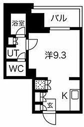 フォレシティ神田多町 10階ワンルームの間取り