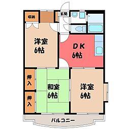 栃木県栃木市泉町の賃貸マンションの間取り