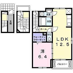 愛知県岡崎市法性寺町字上屋敷の賃貸アパートの間取り