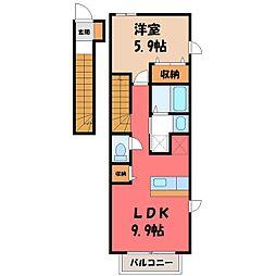 栃木県小山市犬塚8丁目の賃貸アパートの間取り