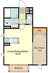 JR中央線 国立駅 徒歩13分の賃貸アパート 1階1LDKの間取り