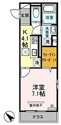 JR武蔵野線 新座駅 徒歩12分の賃貸アパート 1階1Kの間取り