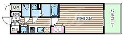 JR大阪環状線 京橋駅 徒歩1分の賃貸マンション 11階1Kの間取り