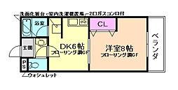 大阪府豊中市庄内西町5丁目の賃貸マンションの間取り