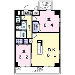 サンフィールド III 5階2LDKの間取り