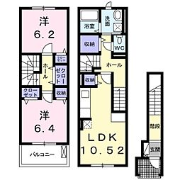 名鉄名古屋本線 小田渕駅 徒歩7分の賃貸アパート 2階2LDKの間取り