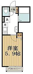 JR中央線 高円寺駅 徒歩11分の賃貸アパート 1階1Kの間取り