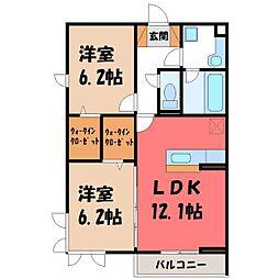 JR東北本線 石橋駅 徒歩27分の賃貸アパート 1階2LDKの間取り