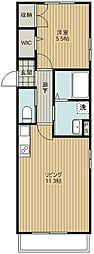 埼玉新都市交通 加茂宮駅 徒歩5分の賃貸マンション 2階1LDKの間取り