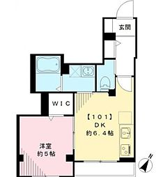 東急目黒線 西小山駅 徒歩2分の賃貸マンション 1階1DKの間取り