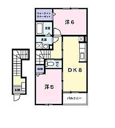 JR羽越本線 中条駅 徒歩14分の賃貸アパート 2階2DKの間取り