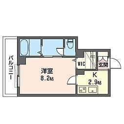 仮)ベレオ・フジコート新松戸 2階1Kの間取り