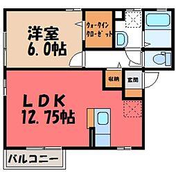栃木県小山市城東4丁目の賃貸アパートの間取り