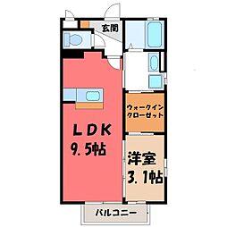 栃木県宇都宮市瑞穂2の賃貸アパートの間取り
