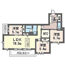 ロワイヤル フレーズ 武蔵野 3階3LDKの間取り