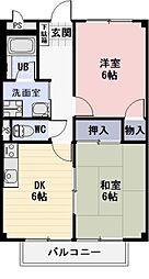 愛知県犬山市上坂町2丁目の賃貸アパートの間取り