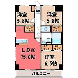 栃木県宇都宮市今泉3丁目の賃貸マンションの間取り