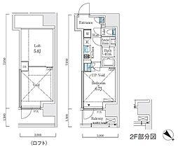 リビオメゾン大崎 3階1Kの間取り