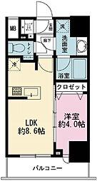 シティインデックス神田 6階1LDKの間取り