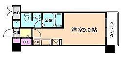 レジュールアッシュ天神橋 5階ワンルームの間取り