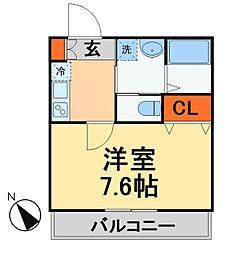 JR常磐線 新松戸駅 徒歩10分の賃貸アパート 3階1Kの間取り