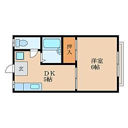 滋賀県東近江市五個荘小幡町の賃貸アパートの間取り