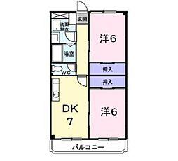 神奈川県厚木市下荻野の賃貸マンションの間取り
