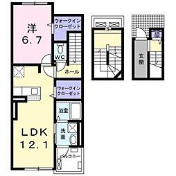 ティータウンII 3階1LDKの間取り