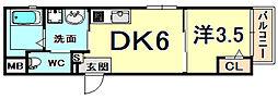 ワコーレヴィータ神戸駅NORTH 1階1DKの間取り