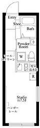 カーサピアッツァ西蒲田 4階ワンルームの間取り