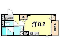 阪神本線 西宮駅 徒歩2分の賃貸アパート 2階ワンルームの間取り