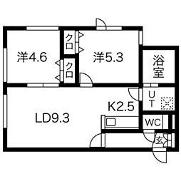 CANAAN黄金南3 2階2LDKの間取り