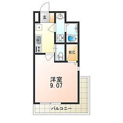 Osaka Metro御堂筋線 江坂駅 徒歩8分の賃貸マンション 2階1Kの間取り