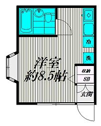 東京都世田谷区給田2丁目の賃貸アパートの間取り