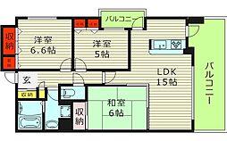 ファミール城東中央 6階3LDKの間取り