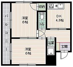 メゾンド草香江[303号室]の間取り
