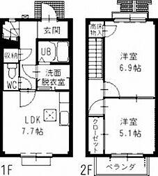 静岡県藤枝市下当間の賃貸アパートの間取り