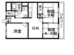 レジデンス栗東[4階]の間取り