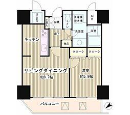 トレステージ目黒 9階1LDKの間取り