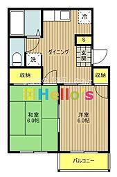 東京都昭島市田中町3の賃貸アパートの間取り