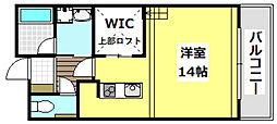 大阪モノレール彩都線 彩都西駅 徒歩10分の賃貸マンション 2階ワンルームの間取り