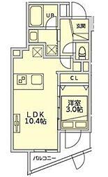 恵比寿YKマンション 3階1LDKの間取り